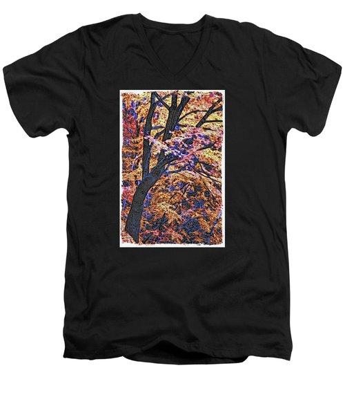 Moku Hanga Autumn Men's V-Neck T-Shirt