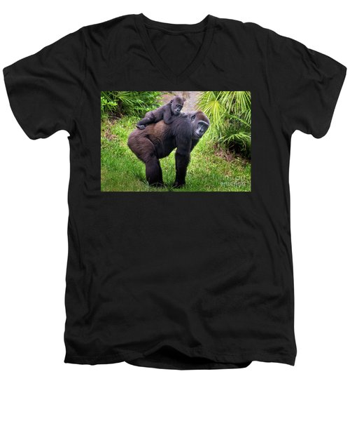 Mom And Baby Gorilla Men's V-Neck T-Shirt