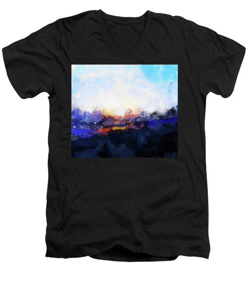 Moment In Blue Spaces Men's V-Neck T-Shirt by Cedric Hampton