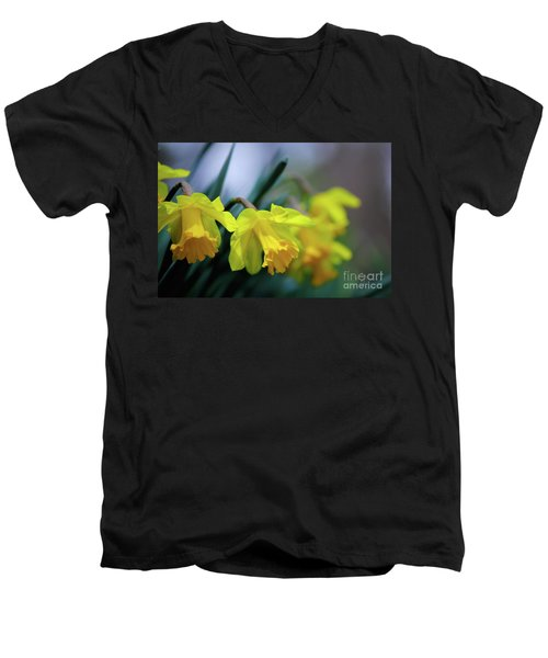 Men's V-Neck T-Shirt featuring the photograph Mom's Daffs by Lois Bryan