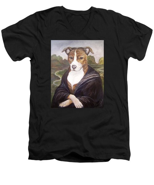 Men's V-Neck T-Shirt featuring the painting Mona Pitta by Laura Aceto