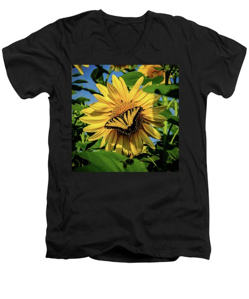 Male Eastern Tiger Swallowtail - Papilio Glaucus And Sunflower Men's V-Neck T-Shirt
