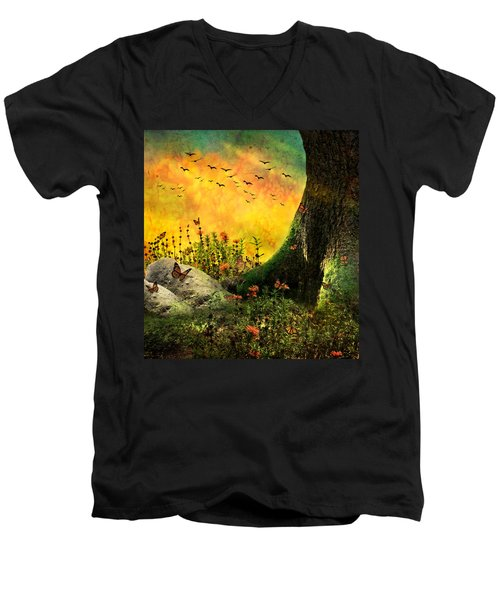 Monarch Meadow Men's V-Neck T-Shirt by Ally  White