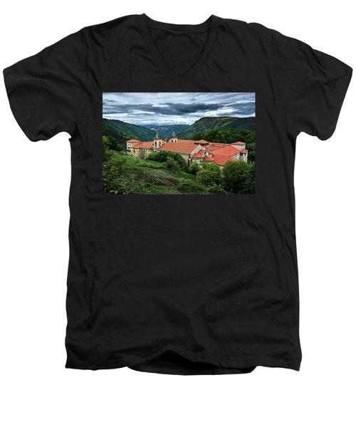 Monastery Of Santo Estevo De Ribas Del Sil Men's V-Neck T-Shirt