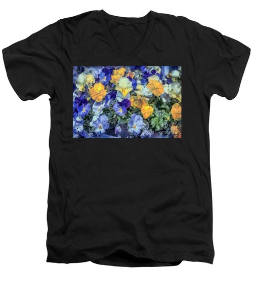 Monet's Pansies Men's V-Neck T-Shirt