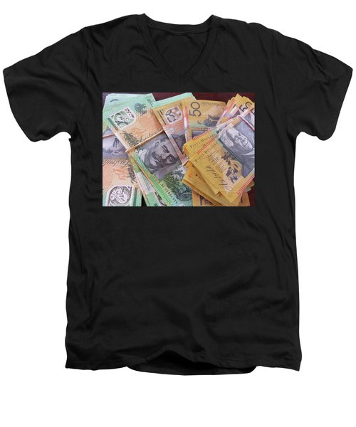 Men's V-Neck T-Shirt featuring the photograph Money by Debbie Cundy