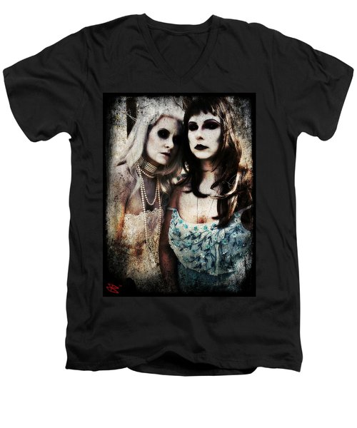 Men's V-Neck T-Shirt featuring the digital art Monique And Ryli 1 by Mark Baranowski