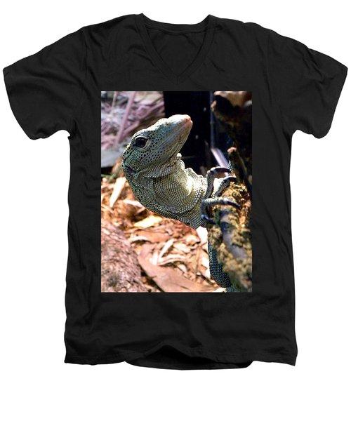 Monitor Lizard 002 Men's V-Neck T-Shirt by Chris Mercer