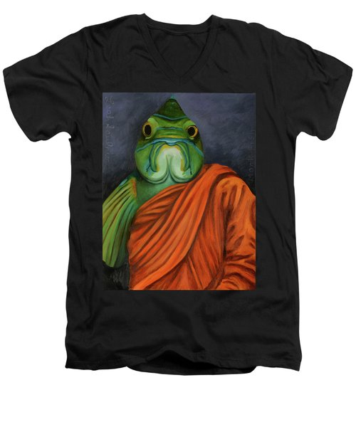 Men's V-Neck T-Shirt featuring the painting Monk Fish by Leah Saulnier The Painting Maniac