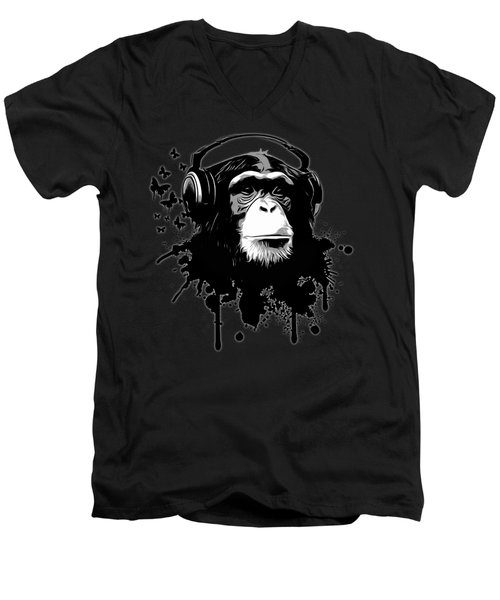 Monkey Business - Black Men's V-Neck T-Shirt by Nicklas Gustafsson