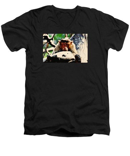 Thoughtful  Men's V-Neck T-Shirt by Manjot Singh Sachdeva