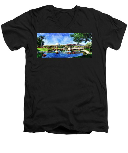 Monorail Red - Coming 'round The Bend Men's V-Neck T-Shirt by Sandy MacGowan