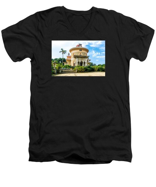 Men's V-Neck T-Shirt featuring the photograph Monserrate Palace by Marion McCristall