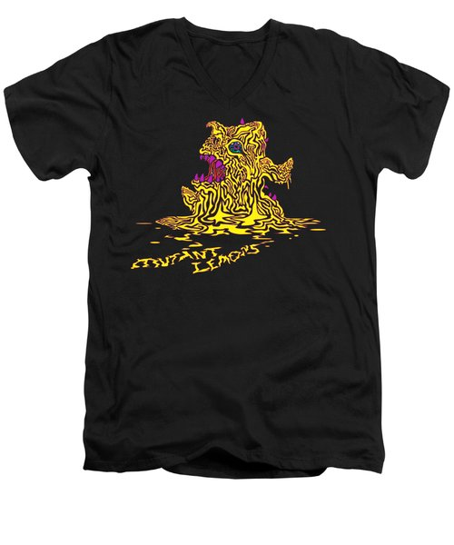 Monster Mutant Lemon Men's V-Neck T-Shirt by Jordan Kotter