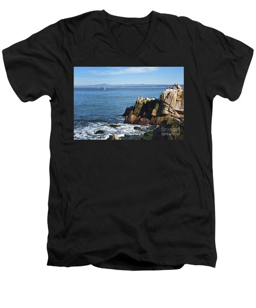 Men's V-Neck T-Shirt featuring the photograph Monterey Bay by Gina Savage