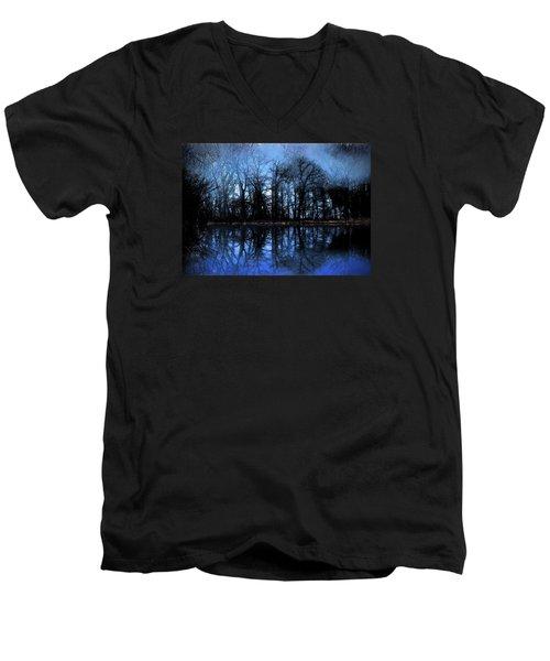 Moody Blue Daybreak Men's V-Neck T-Shirt by Cedric Hampton