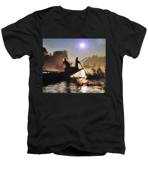 Moody River Silhouettes At Sunset Men's V-Neck T-Shirt