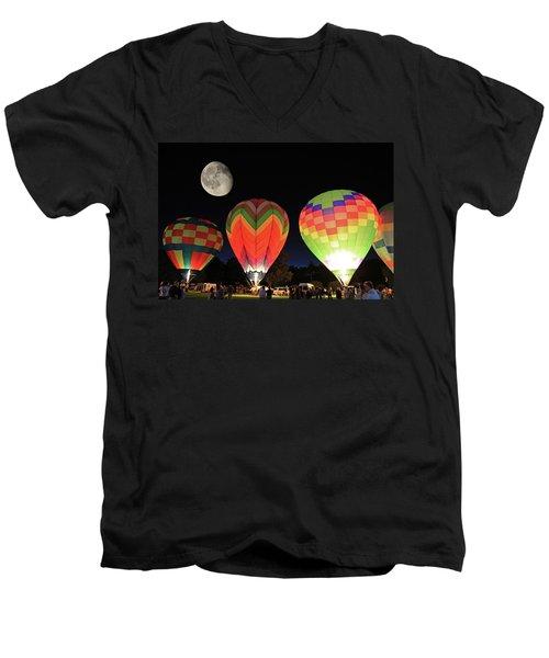 Moon And Balloons Men's V-Neck T-Shirt