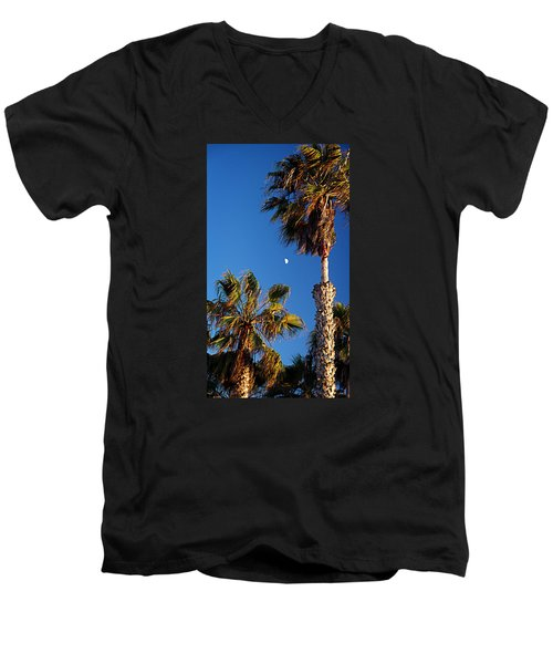 Moon And Palms Men's V-Neck T-Shirt