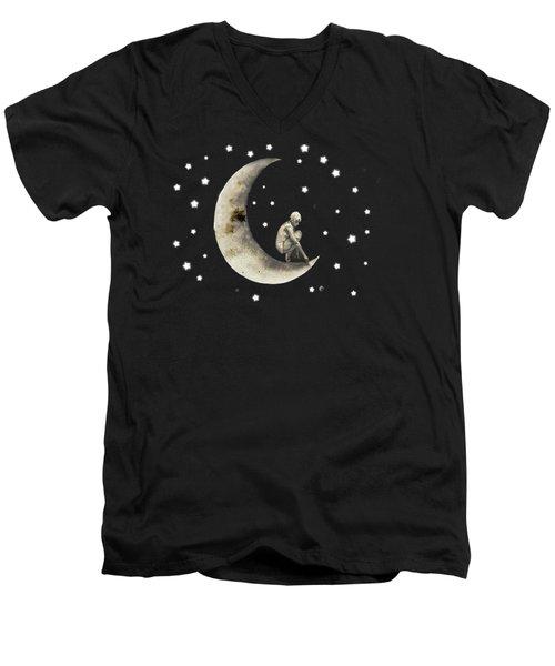 Moon And Stars T Shirt Design Men's V-Neck T-Shirt by Bellesouth Studio