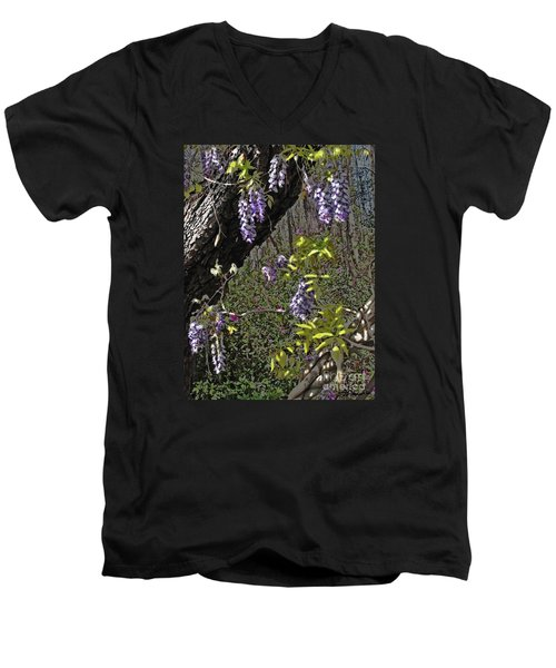 Moon Glow Wisteria Men's V-Neck T-Shirt by Patricia L Davidson