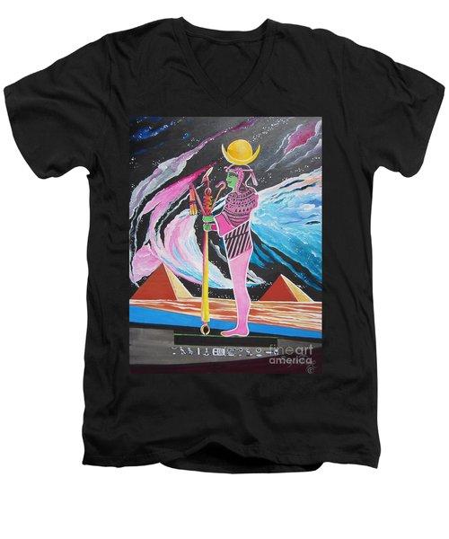 Blaa Kattproduksjoner             Moon God - Osiris Men's V-Neck T-Shirt