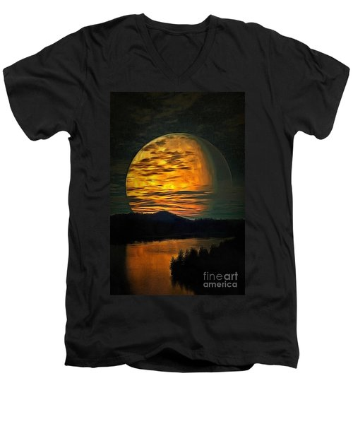 Moon In Ambiance Men's V-Neck T-Shirt
