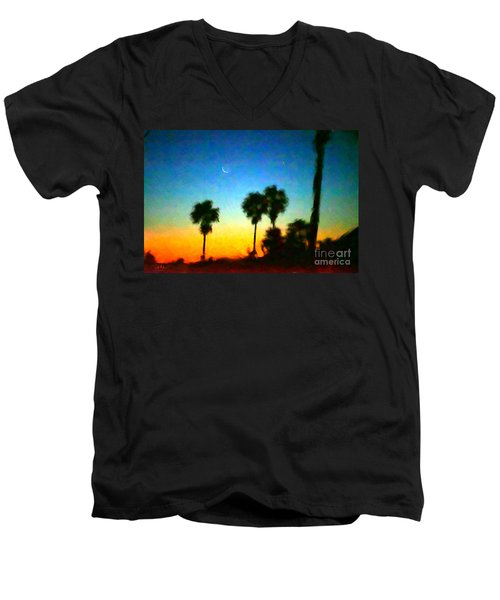 Moon Jupiter Sunrise Men's V-Neck T-Shirt