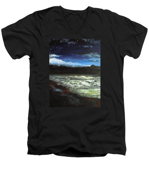 Moon Lit Sea Men's V-Neck T-Shirt by Dan Whittemore
