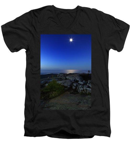 Moon Over Cadillac Men's V-Neck T-Shirt by Rick Berk