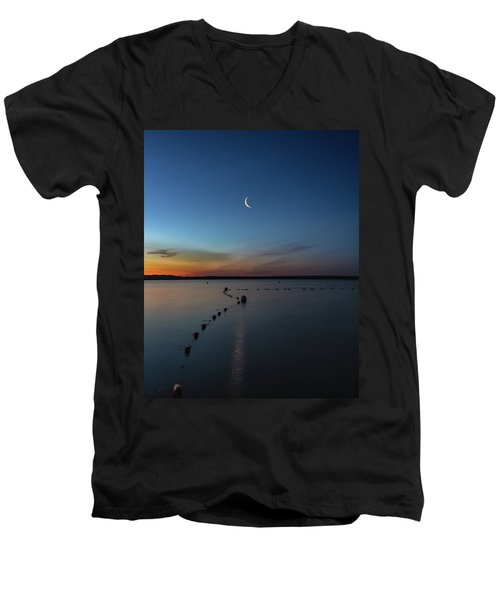 Moon Over Cayuga Men's V-Neck T-Shirt