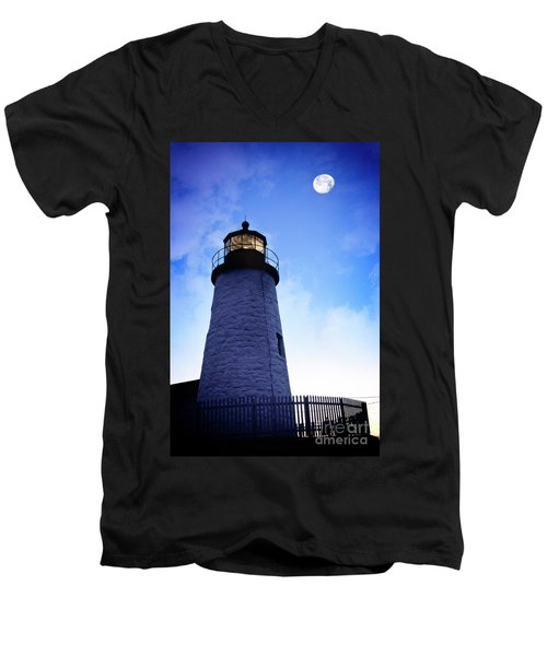 Moon Over Lighthouse Men's V-Neck T-Shirt