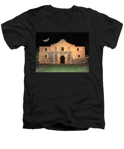 Moon Over The Alamo Men's V-Neck T-Shirt