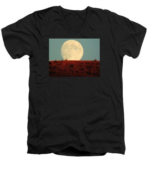 Moon Over Utah Men's V-Neck T-Shirt by Charlotte Schafer