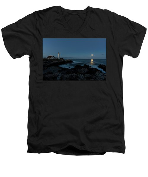 Moon Rise At Portland Headlight Men's V-Neck T-Shirt