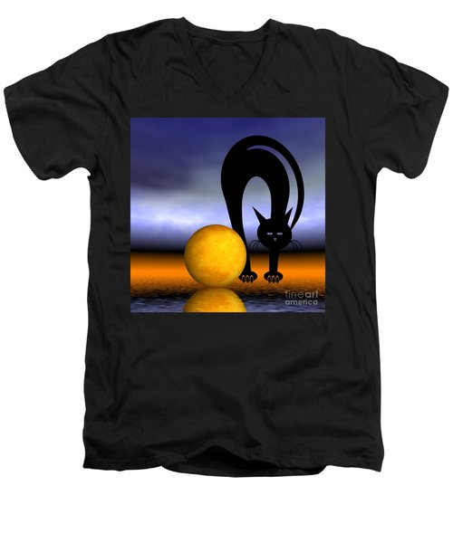 Mooncat's Play With The Fullmoon Men's V-Neck T-Shirt