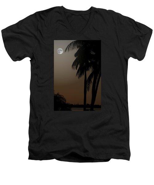 Moonlight And Palms Men's V-Neck T-Shirt