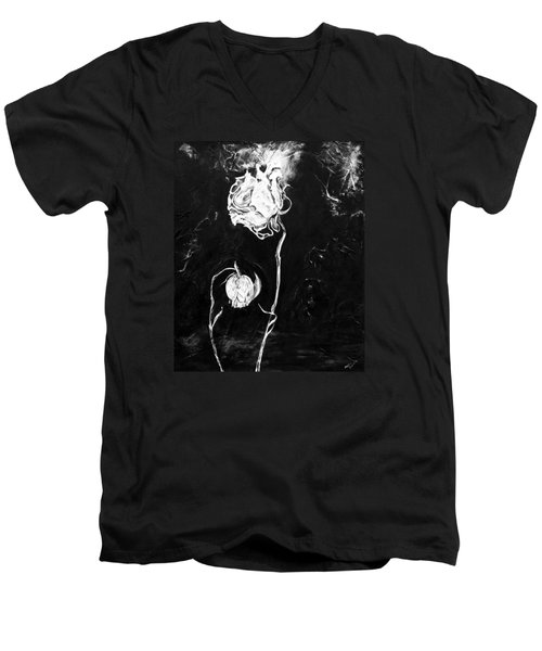 Moonlight And Roses Men's V-Neck T-Shirt by Nadine Dennis