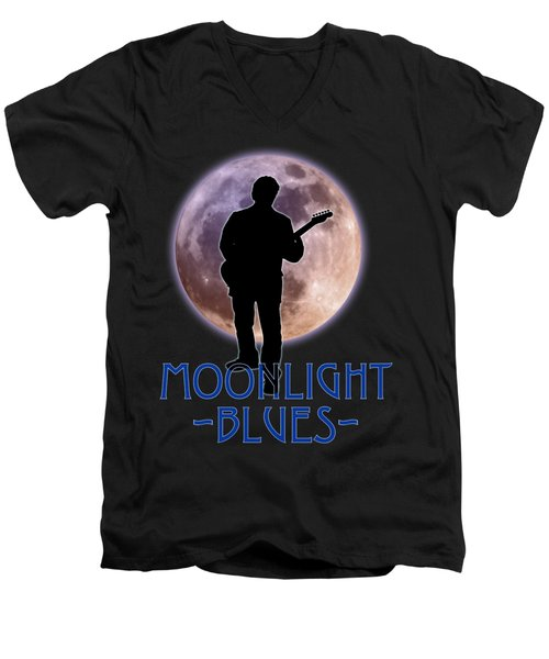 Moonlight Blues Shirt Men's V-Neck T-Shirt