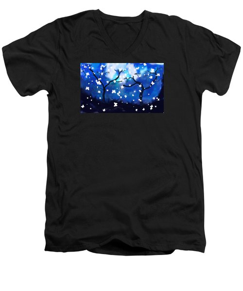 Moonlight Butterflies Men's V-Neck T-Shirt by Patricia Arroyo