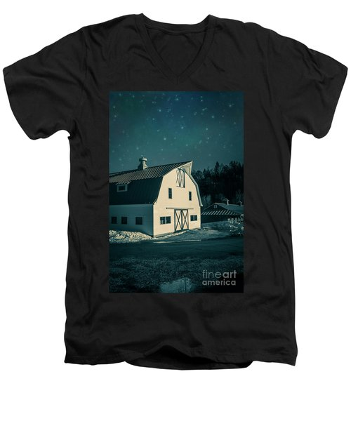 Men's V-Neck T-Shirt featuring the photograph Moonlight In Vermont by Edward Fielding