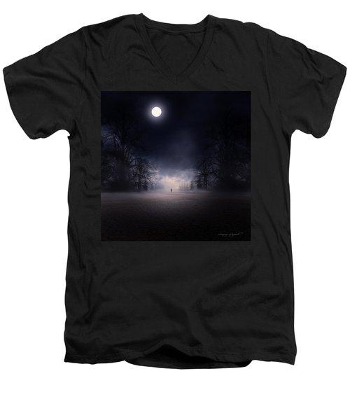 Moonlight Journey Men's V-Neck T-Shirt by Lourry Legarde