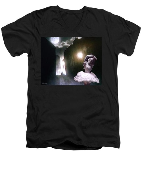 Men's V-Neck T-Shirt featuring the digital art Moonlight Memory by Lyric Lucas