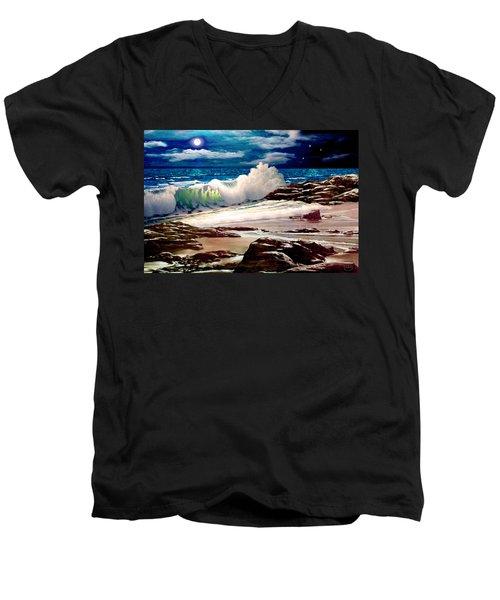 Moonlight On The Beach Men's V-Neck T-Shirt
