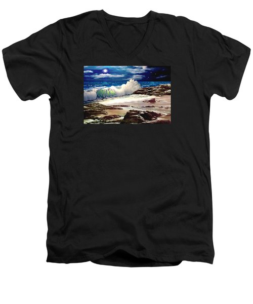 Moonlight On The Beach Men's V-Neck T-Shirt by Ron Chambers