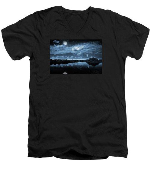 Moonlight Over A Lake Men's V-Neck T-Shirt by Jaroslaw Grudzinski
