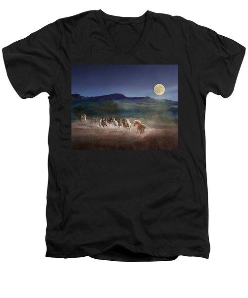 Moonlight Run Men's V-Neck T-Shirt by Melinda Hughes-Berland