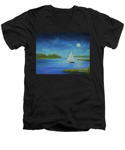 Moonlight Sail Men's V-Neck T-Shirt