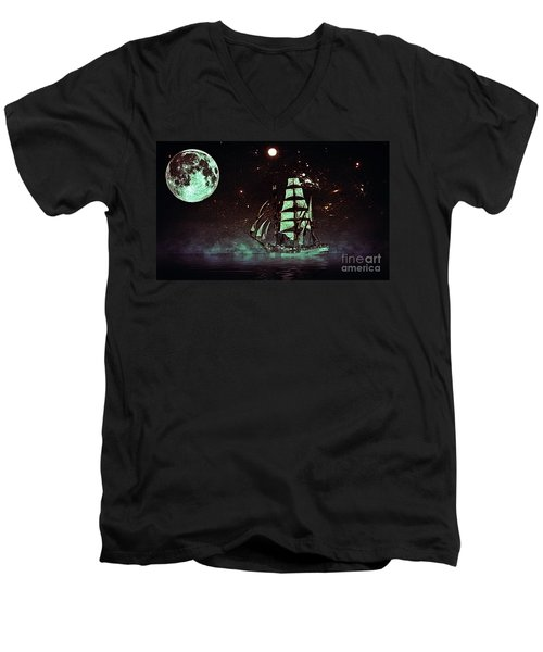 Moonlight Sailing Men's V-Neck T-Shirt