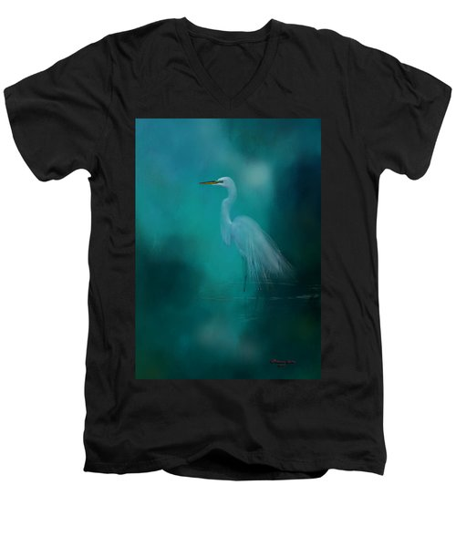 Men's V-Neck T-Shirt featuring the photograph Moonlight Serenade by Marvin Spates